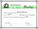 Marshall Bateman - Forest Nova Scotia - Certificate