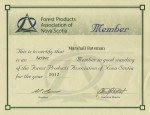Marshall Bateman - Forest Products of Nova Scotia - Certificate