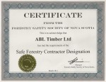 ABL Timber Ltd. - Forestry Safety Society of Nova Scotia - Certificate